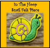In The Hoop Snail Felt Piece Embroidery Machine Design Set