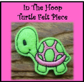 In The Hoop Turtle Felt Piece Embroidery Machine Design Set