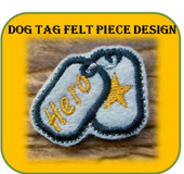 Dog Tag Felt Piece Embroidery Machine Design Set