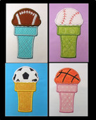 Icecream Sportsball Applique Embroidery Machine Design Set