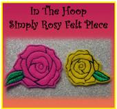 In The Hoop Rose Felt Piece Embroidery Machine Design Set