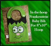 "In The Hoop Frankenstein Baby Bib Embroidery Machine Design for 8""x10"" Hoop"