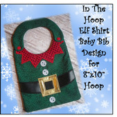 In The Hoop Elf Shirt Baby Bib Embroidery Machine Design for 8x10 Hoop