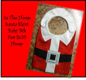 In The Hoop Santa Shirt Baby Bib Embroidery Machine design for 8x10 Hoops