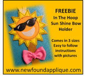 Freebie ITH Sunshine Bow Holder Embroidery Machine Design