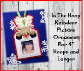 In The Hoop Reindeer Picture Ornament Embroidery Machine Design