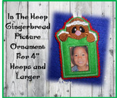 In The Hoop Gingerbread Picture Ornament Embroidery Machine Design