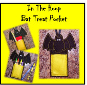 In The Hoop Bat Treat/Candy Pocket Embroidery Machine Design