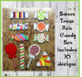 In the Hoop 10 Piece Felt Candy Embroidery Machine Design Set