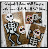 In The Hoop Snapped Skeleton Wall Hanging Embroidery Machine Design Set