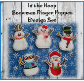 In The Hoop Snowman Finger puppet Embroidery Machine Design Set
