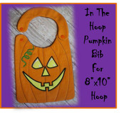 In The Hoop Smiling Pumpkin Baby Bib Embroidery Machine Design