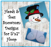 "In the Hoop Snowman 5""x7"" Head & Toe Embroidery Machine Designs"