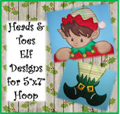 "In The Hoop 5""x7"" Elf Head & Toe Emboridery Machine Design Set"