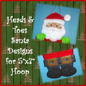 "In The Hoop 5""x7"" Santa Head & Toe Embroidery Machine Design Set"