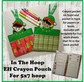 "In The Hoop Elf Crayon Pouch With Book Pocket Embroidery Machine Design for 5""x7"" Hoop"