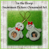 In The Hoop Snowman Picture Frame Ornament Set Embroidery Machine Design