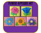 Flower Applique Embroidery Machine Design Set