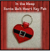 In The Hoop Santa Belt Heart Key Fob Embroidery Machine Design