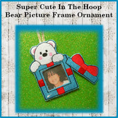 In The Hoop Bear Photo Frame Tree Ornament Embroidery Machine Design