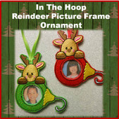 In the Hoop Reindeer PIcture Frame Tree Ornament Embroidery Machine Design