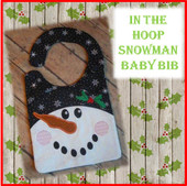 In The Hoop Snowman Baby Bib Embroidery Machine Design for 8x10 Hoop