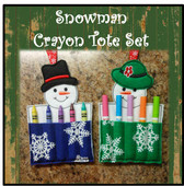 "In The Hoop Snowman Crayon Pouch set With Book Pocket Embroidery Machine Design for 5""x7"" Hoop"
