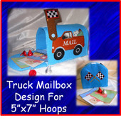 Truck Mailbox Embroidery Machine Design Set for 5x7 Hoop