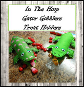 "In The Hoop Gator Gobblers Treat Holder Embroidery Machine Design for 5""x7"" hoop"