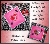 In The Hoop Candy Pocket heart with Arrow Embroidery machine design