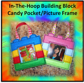 In The Hoop Building Block Treat Pocket And Photo Frame Embroidery Machine Design