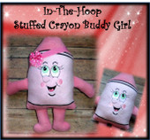 In the Hoop Stuffed Crayon Buddy Girl Embroidery Machine Design