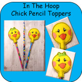In The Hoop Chick Pencil Topper Embroidery Machine Design Set