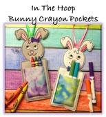 In The Hoop Bunny Crayon Pocket Boy and Girl Embroidery Machine Design Set for 5x7 Hoops