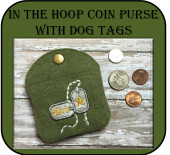 In The Hoop Dog Tags Coin Purse Embroidery Machine Design