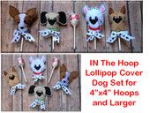 In The Hoop Lollipop Cover Dog Embroidery Machine Design Set