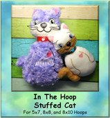 In The Hoop Cat Stuffie Design for 5x7, 8x8, and 8x10 Hoops