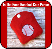 In the hoop Baseball Coin Purse Embroidery Machine Design