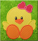 Chick With Bow Applique Embroidery Machine Design
