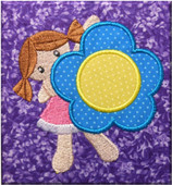 Girl With Flower  Applique Embroidery Machine Design