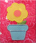 Flower in Pot Applique Embroidery Machine Design