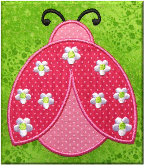 Ladybug With Flowers Applique Embroidery Machine Design Newfound