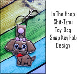 In the Hoop Shih-Tzu Snap Key Fob Embroidery Machine Design