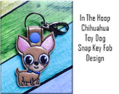 In The Hoop Chihuahua Snap Key Fob Embroidry Machine Design