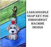In The Hoop Labradoodle Key Fob Embroidery Machine Design Set