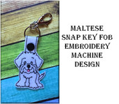 In The Hoop Maltese Key Fob Embroidery Machine Design