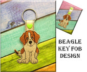 In The hoop Beagle Key Fob Embroidery Machine Design