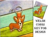 IN The hoop Welsh Corgi Key Fob Embroidery Machine Design