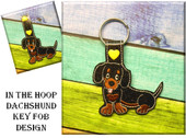 In The Hoop Dashchund 2 Key Fob Embroidery Machine Design
