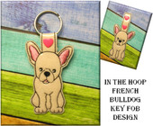 In The Hoop French Bulldog Key Fob Embroidery Machine Design